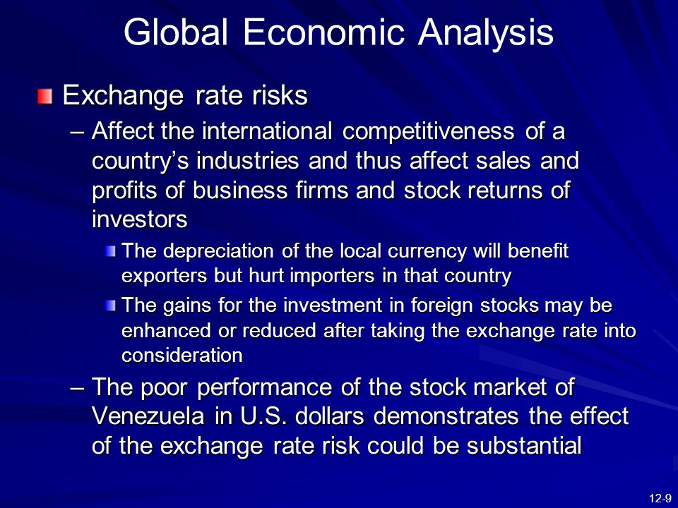 12-9 Global Economic Analysis Exchange rate risks –Affect the international competitiveness of a country's industries and thus affect sales and profit