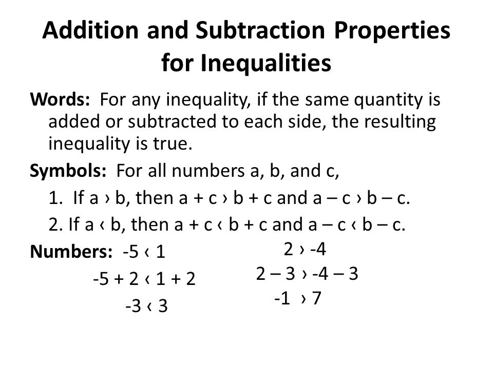 Addition and Subtraction Properties for Inequalities Words: For any inequality, if the same quantity is added or subtracted to each side, the resultin