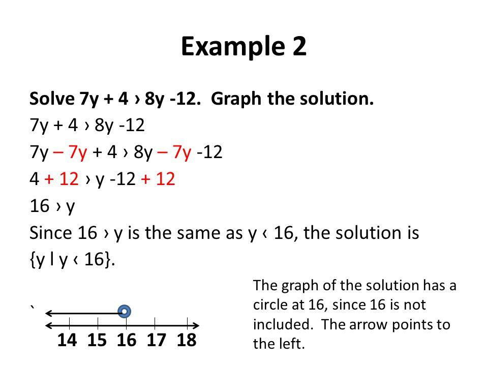 Example 2 Solve 7y + 4 › 8y -12. Graph the solution. 7y + 4 › 8y -12 7y – 7y + 4 › 8y – 7y -12 4 + 12 › y -12 + 12 16 › y Since 16 › y is the same as