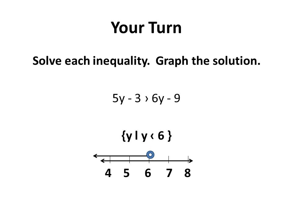 Your Turn Solve each inequality. Graph the solution. 5y - 3 › 6y - 9 {y l y ‹ 6 } 4 5 6 7 8