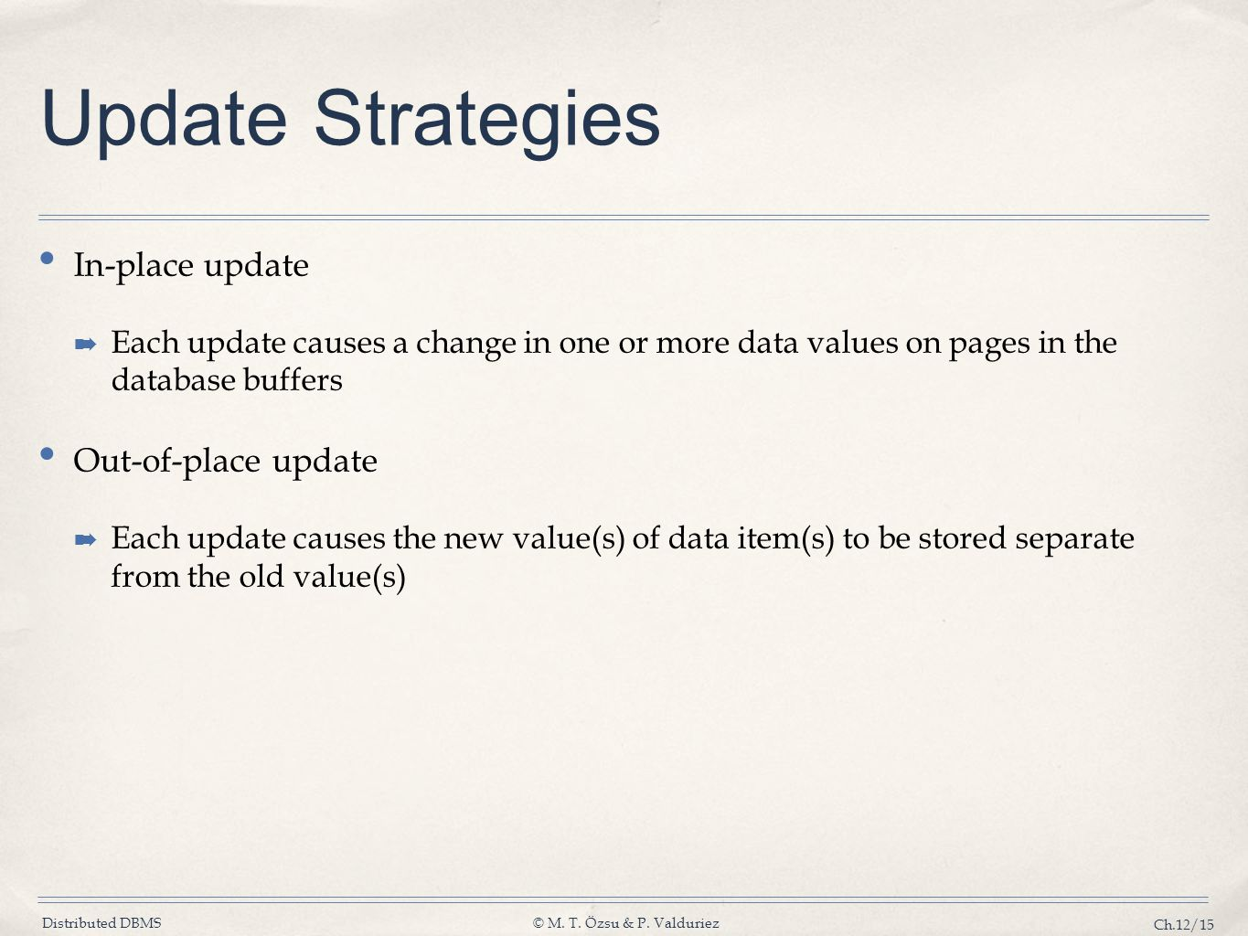 Distributed DBMS© M. T. Özsu & P. Valduriez Ch.12/15 Update Strategies In-place update ➡ Each update causes a change in one or more data values on pag