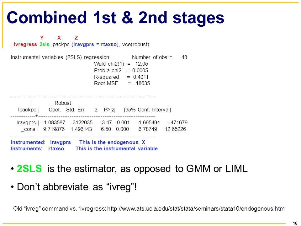 "16 Combined 1st & 2nd stages Old ""ivreg"" command vs. ""ivregress: http://www.ats.ucla.edu/stat/stata/seminars/stata10/endogenous.htm Y X Z. ivregress 2"