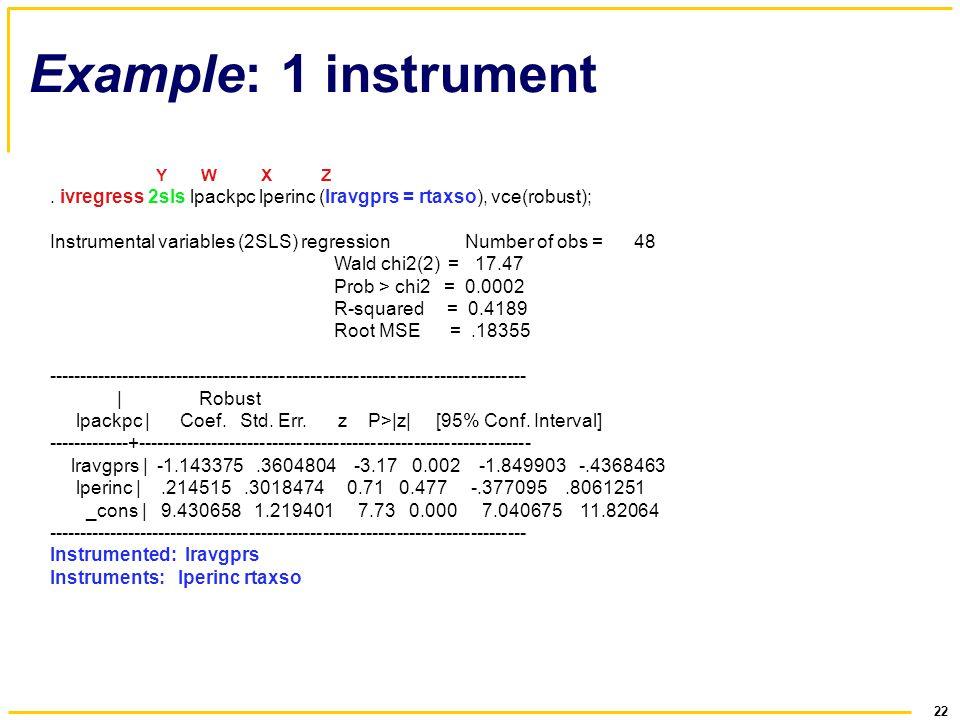 22 Example: 1 instrument Y W X Z. ivregress 2sls lpackpc lperinc (lravgprs = rtaxso), vce(robust); Instrumental variables (2SLS) regression Number of