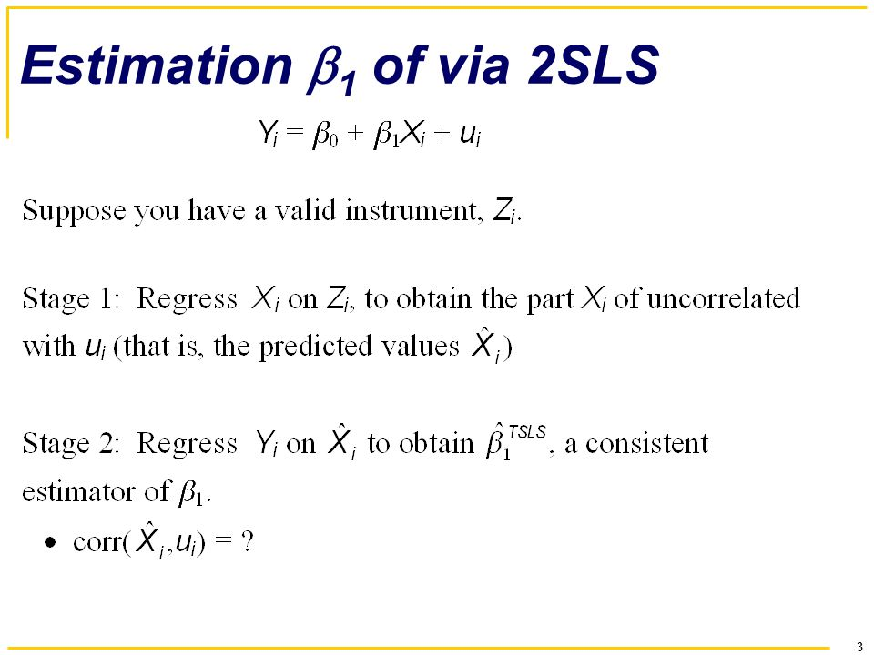 3 Estimation  1 of via 2SLS