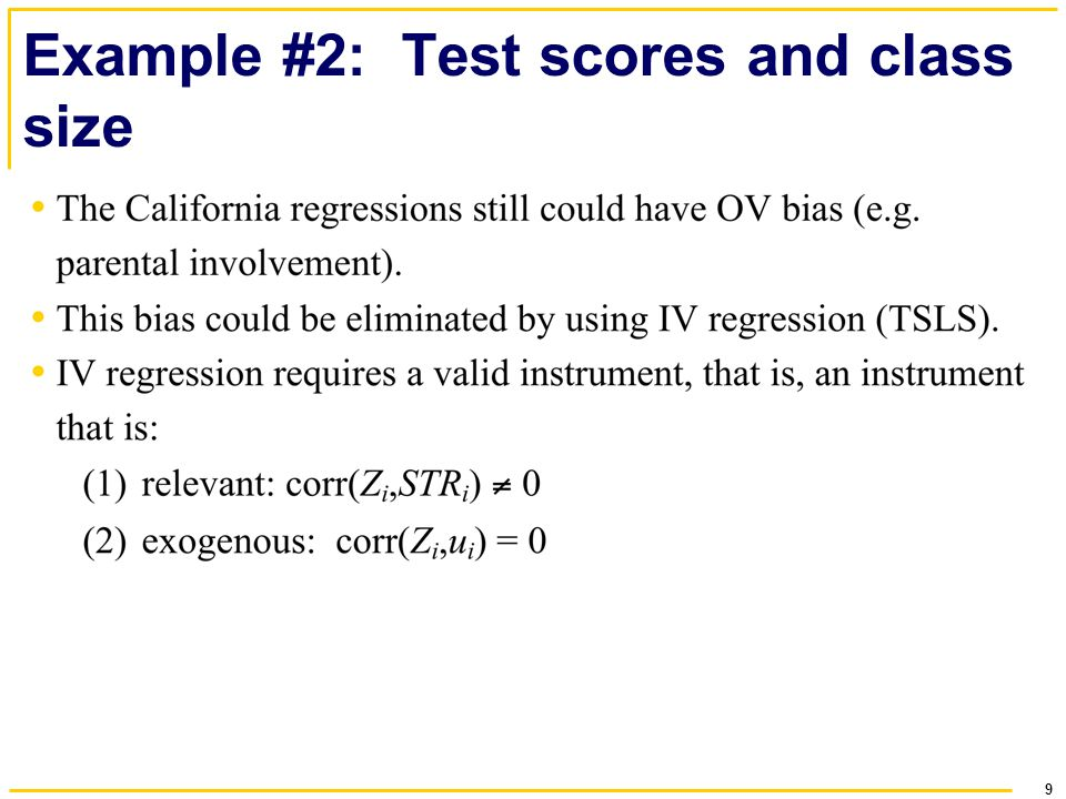 9 Example #2: Test scores and class size