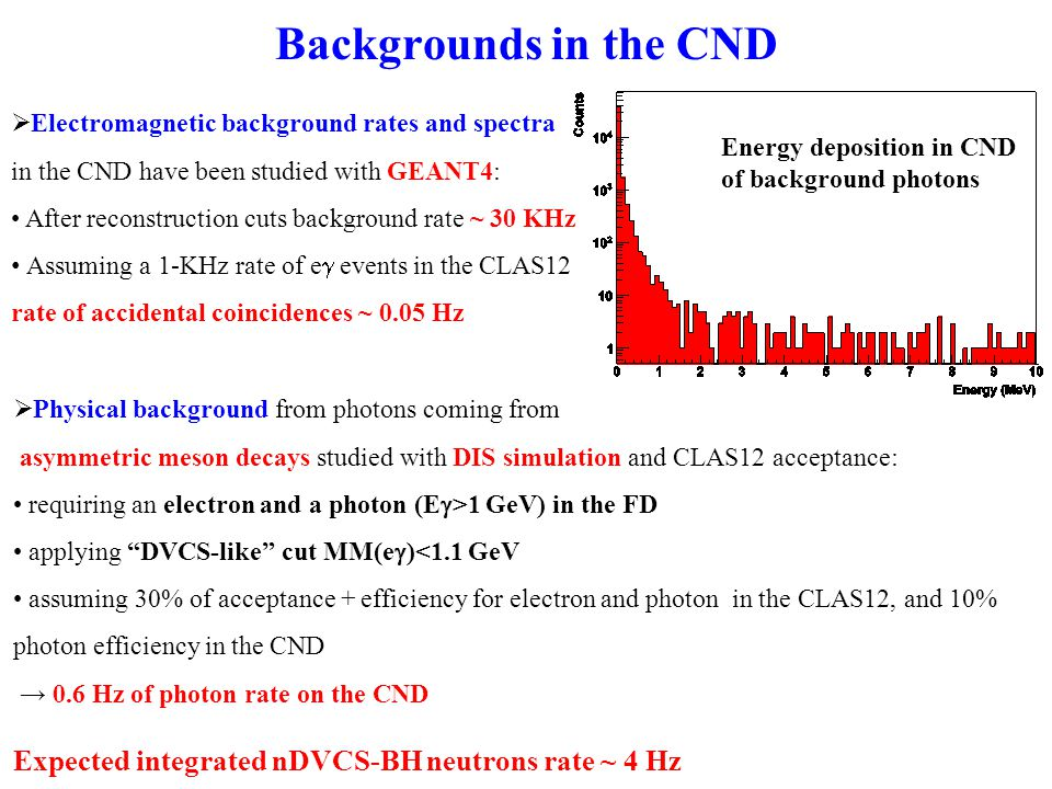 Backgrounds in the CND  Electromagnetic background rates and spectra in the CND have been studied with GEANT4: After reconstruction cuts background rate ~ 30 KHz Assuming a 1-KHz rate of e  events in the CLAS12 rate of accidental coincidences ~ 0.05 Hz  Physical background from photons coming from asymmetric meson decays studied with DIS simulation and CLAS12 acceptance: requiring an electron and a photon (E  >1 GeV) in the FD applying DVCS-like cut MM(e  )<1.1 GeV assuming 30% of acceptance + efficiency for electron and photon in the CLAS12, and 10% photon efficiency in the CND → 0.6 Hz of photon rate on the CND Expected integrated nDVCS-BH neutrons rate ~ 4 Hz Energy deposition in CND of background photons