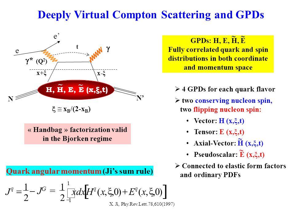 t (Q 2 ) e ** x+ξ x-ξ H, H, E, E (x,ξ,t) ~ ~  N N' Deeply Virtual Compton Scattering and GPDs e' « Handbag » factorization valid in the Bjorken regime  x B /(2-x B )   0,x  ),(Ex q  2 1 Hxdx q  J G =  2 1 J q  1 1  )0,,( Quark angular momentum (Ji's sum rule) X.