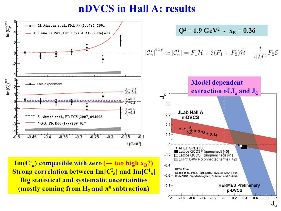 nDVCS in Hall A: results S. Ahmad et al., PR D75 (2007) 094003 VGG, PR D60 (1999) 094017 M.