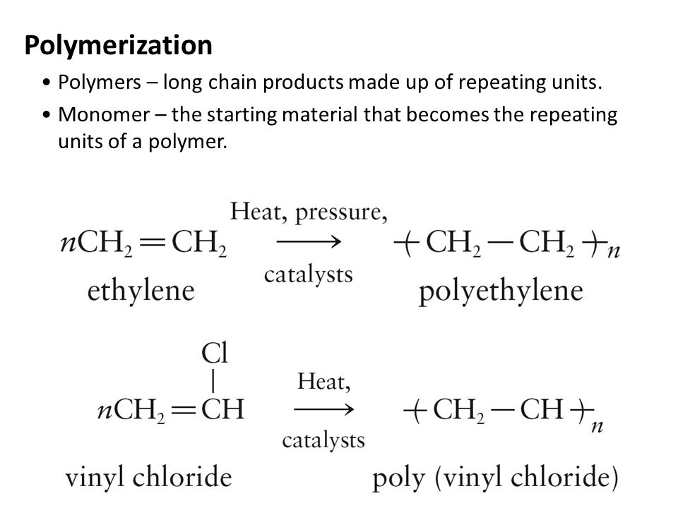 Polymerization Polymers – long chain products made up of repeating units. Monomer – the starting material that becomes the repeating units of a polyme