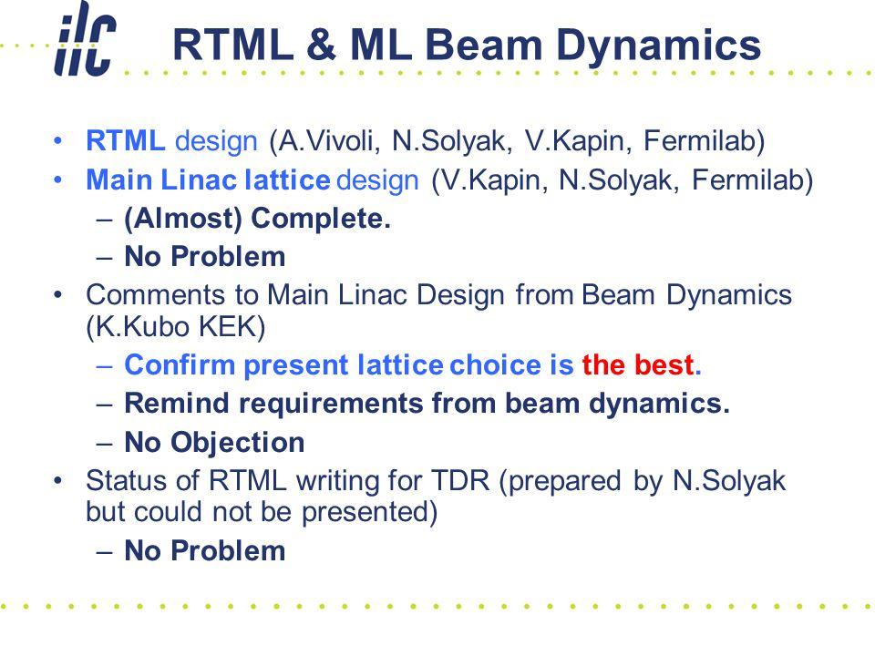 RTML & ML Beam Dynamics RTML design (A.Vivoli, N.Solyak, V.Kapin, Fermilab) Main Linac lattice design (V.Kapin, N.Solyak, Fermilab) –(Almost) Complete.