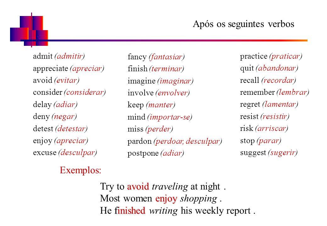 Após os seguintes verbos admit (admitir) appreciate (apreciar) avoid (evitar) consider (considerar) delay (adiar) deny (negar) detest (detestar) enjoy