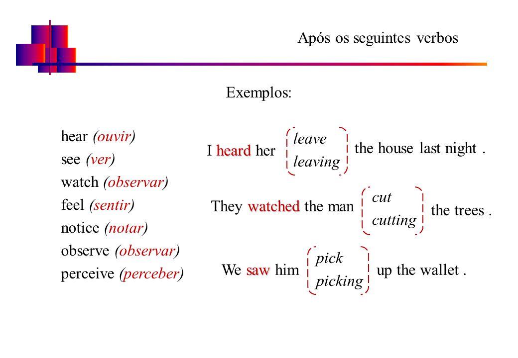 Após os seguintes verbos hear (ouvir) see (ver) watch (observar) feel (sentir) notice (notar) observe (observar) perceive (perceber) Exemplos: heard I