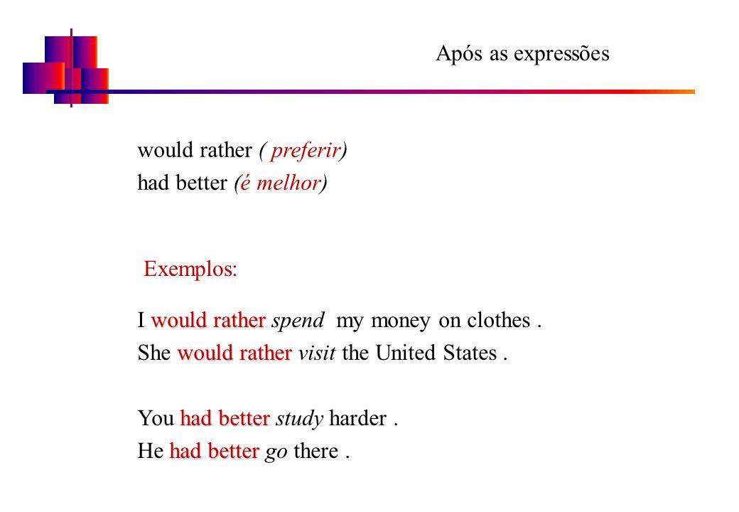 Após as expressões would rather ( preferir) had better (é melhor) Exemplos: would rather I would rather spend my money on clothes. would rather She wo