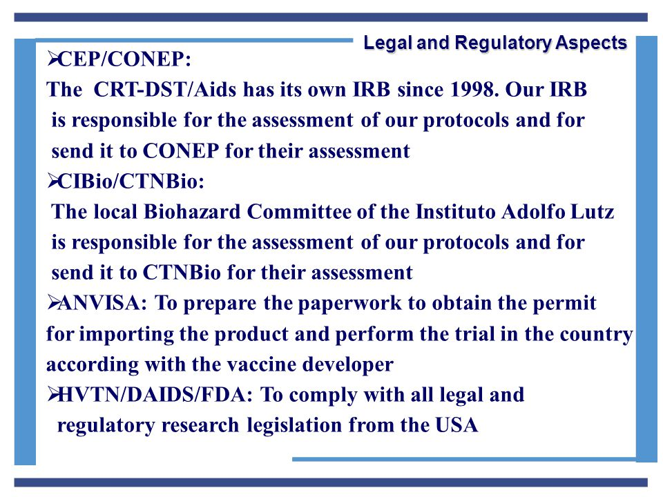  CEP/CONEP: The CRT-DST/Aids has its own IRB since 1998.