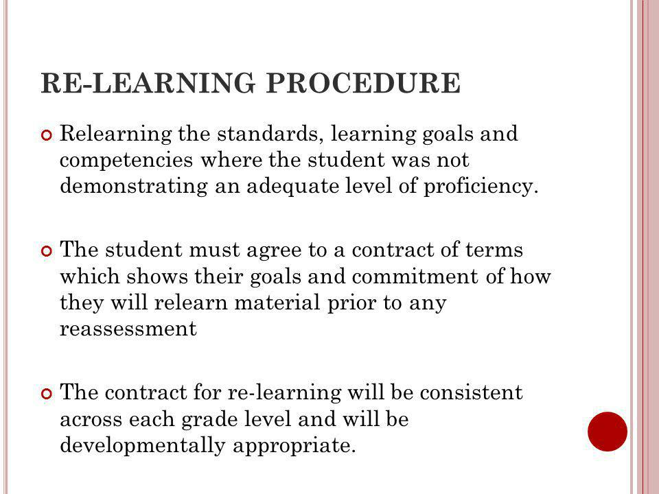 RE-LEARNING PROCEDURE Relearning the standards, learning goals and competencies where the student was not demonstrating an adequate level of proficiency.