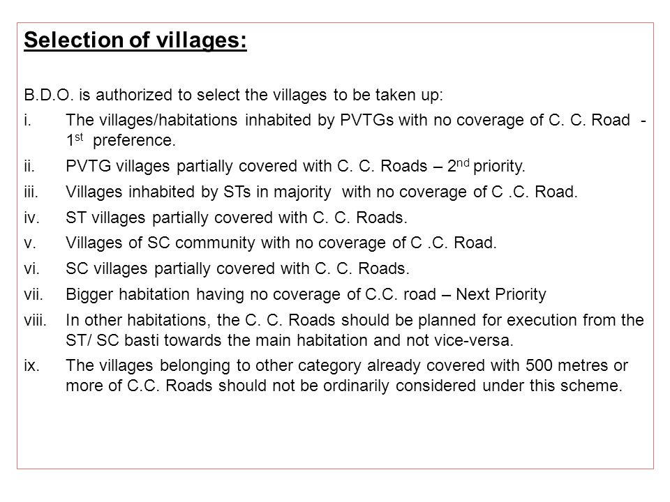 Selection of villages: B.D.O.