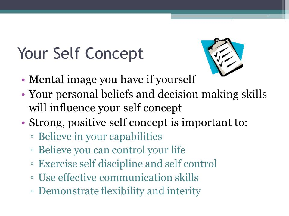 Self Esteem Feeling of self worth Positive self concept means confidence and satisfaction in yourself Positive self esteem means you recognize and value your uniqueness People with low self esteem often tend to see themselves as failures and avoid everyday challenges