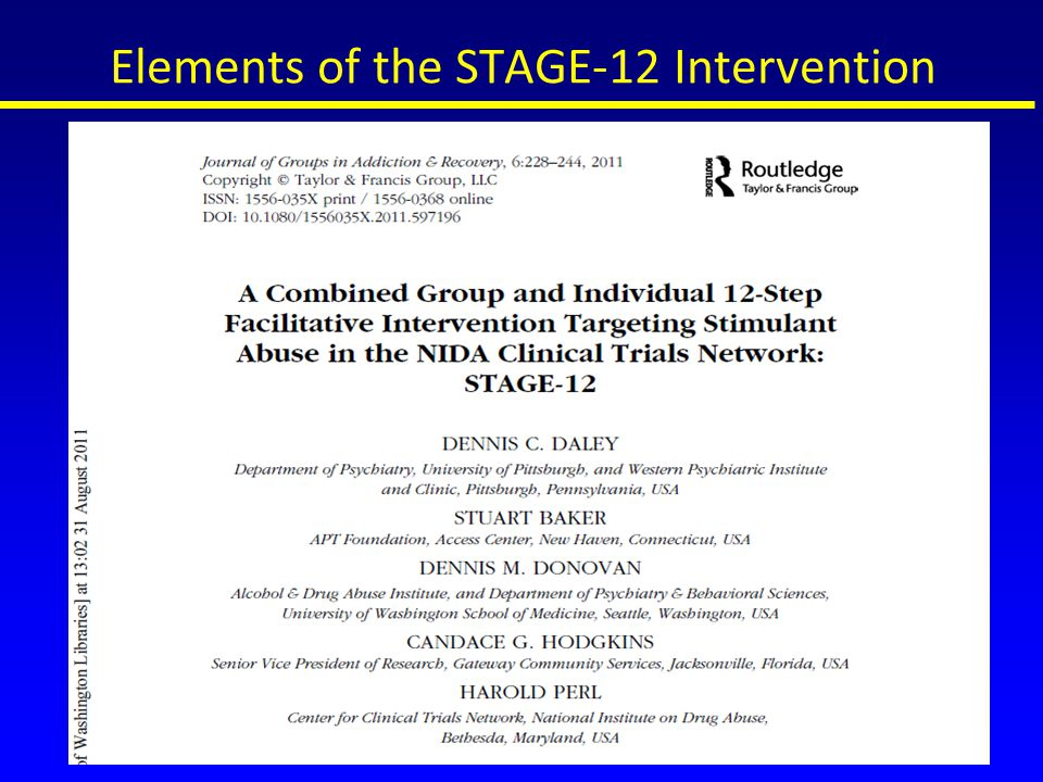 Elements of the STAGE-12 Intervention