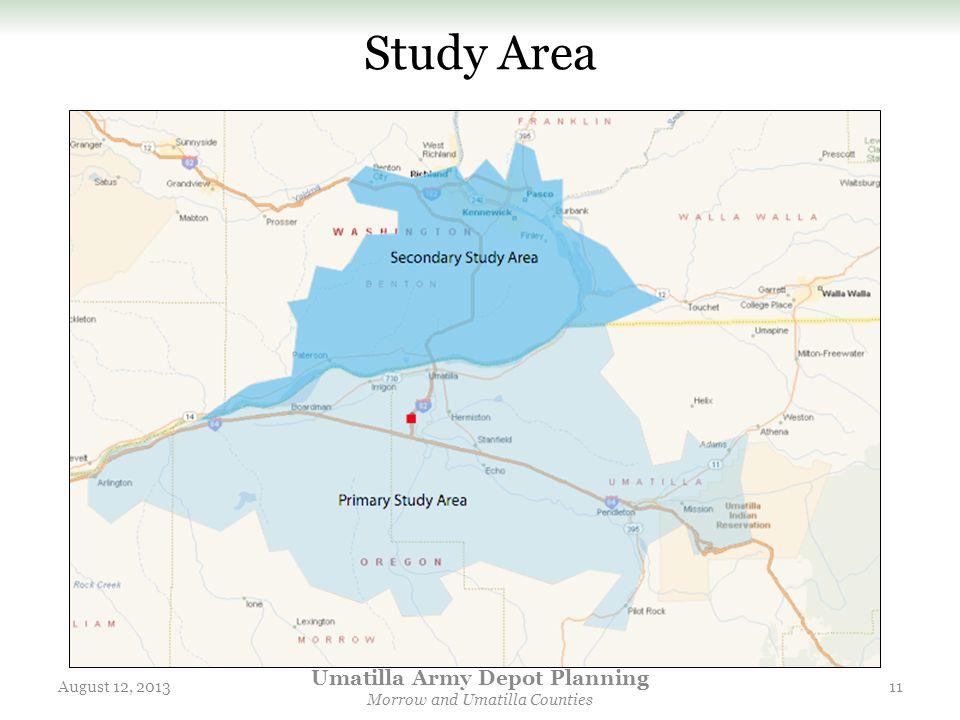 Study Area August 12, 2013 Umatilla Army Depot Planning Morrow and Umatilla Counties 11