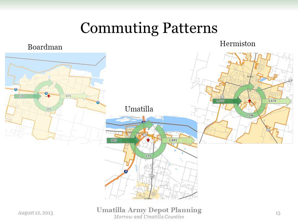 Commuting Patterns August 12, 2013 Umatilla Army Depot Planning Morrow and Umatilla Counties 15 Boardman Hermiston Umatilla