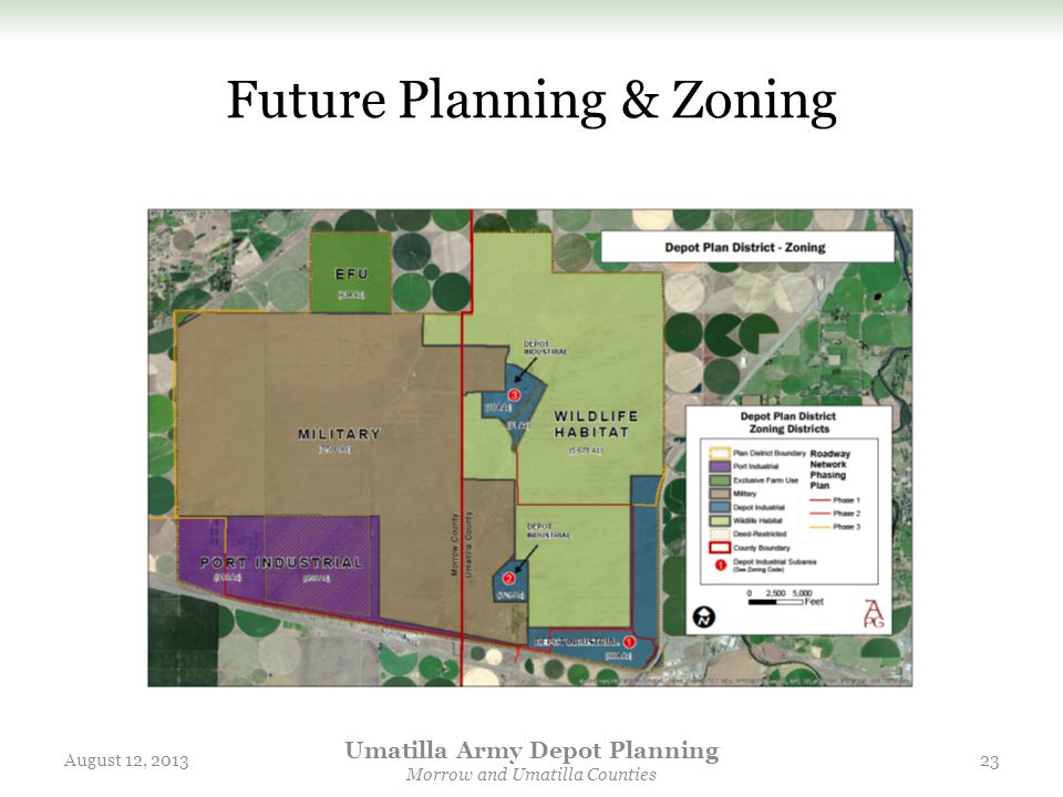 Future Planning & Zoning August 12, 2013 Umatilla Army Depot Planning Morrow and Umatilla Counties 23