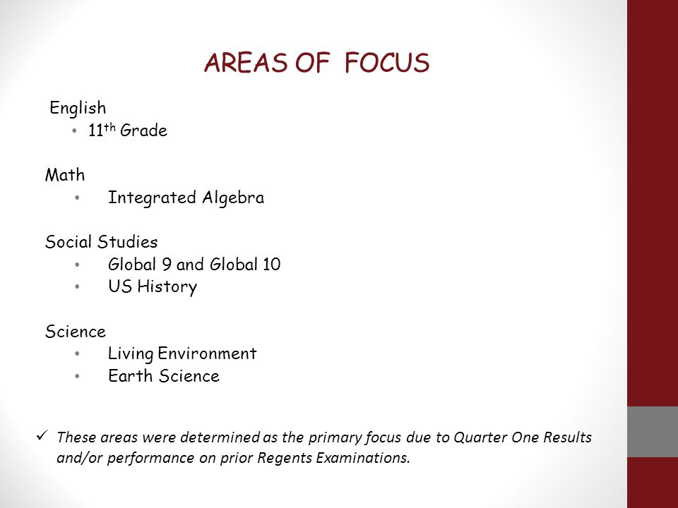 AREAS OF FOCUS English 11 th Grade Math Integrated Algebra Social Studies Global 9 and Global 10 US History Science Living Environment Earth Science These areas were determined as the primary focus due to Quarter One Results and/or performance on prior Regents Examinations.