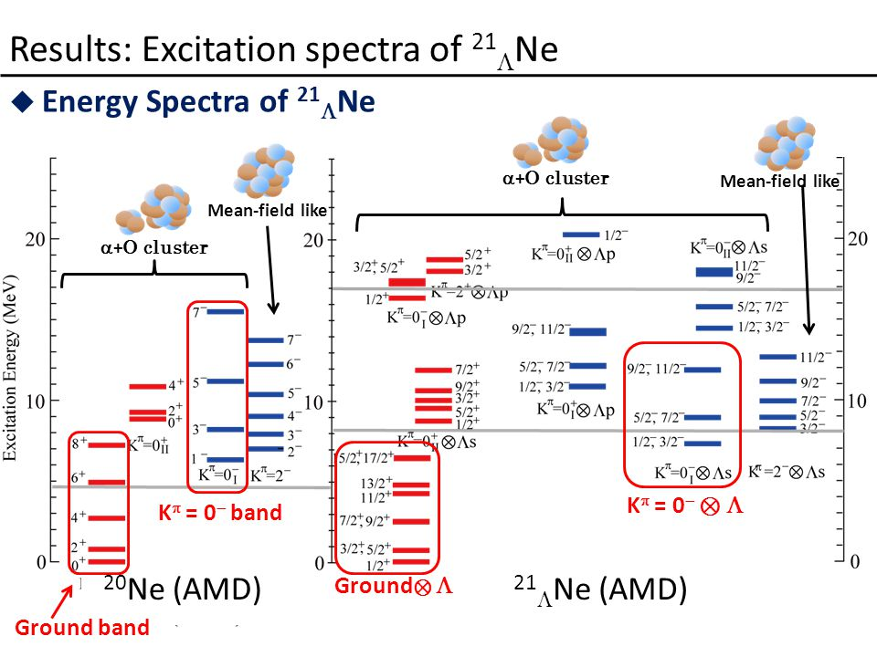  Energy Spectra of 21  Ne Results: Excitation spectra of 21  Ne  + O cluster Mean-field like  + O cluster Mean-field like K  = 0  band K  = 0  ⊗  Ground ⊗  21  Ne (AMD) 20 Ne (AMD) Ground band