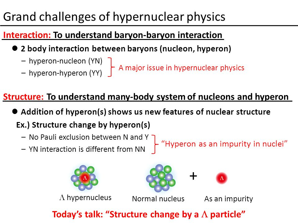Grand challenges of hypernuclear physics 2 body interaction between baryons (nucleon, hyperon) –hyperon-nucleon (YN) –hyperon-hyperon (YY) Addition of hyperon(s) shows us new features of nuclear structure Ex.) Structure change by hyperon(s) –No Pauli exclusion between N and Y –YN interaction is different from NN A major issue in hypernuclear physics Hyperon as an impurity in nuclei  hypernucleus Normal nucleusAs an impurity + Interaction: To understand baryon-baryon interaction Structure: To understand many-body system of nucleons and hyperon Today's talk: Structure change by a  particle