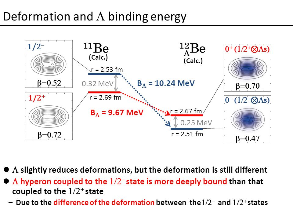 Deformation and  binding energy  slightly reduces deformations, but the deformation is still different  hyperon coupled to the   state is more deeply bound than that coupled to the   state –Due to the difference of the deformation between the   and   states B  = 10.24 MeV B  = 9.67 MeV 0.32 MeV 0.25 MeV 1/2 +  1/2         ⊗  s      ⊗  s  11 Be (Calc.) 12 Be (Calc.)  r = 2.53 fm r = 2.69 fm r = 2.67 fm r = 2.51 fm