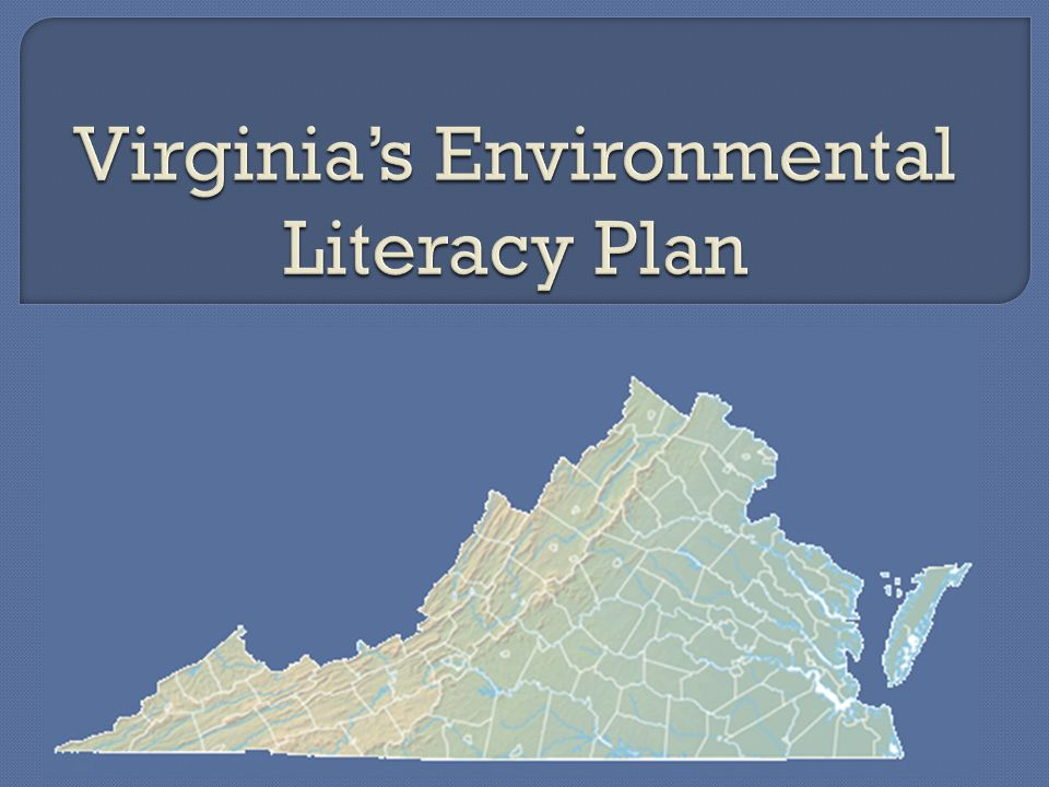  Development of a Virginia Environmental Literacy plan Creation of the plan Buy-in by education community before legislation Implementation funds