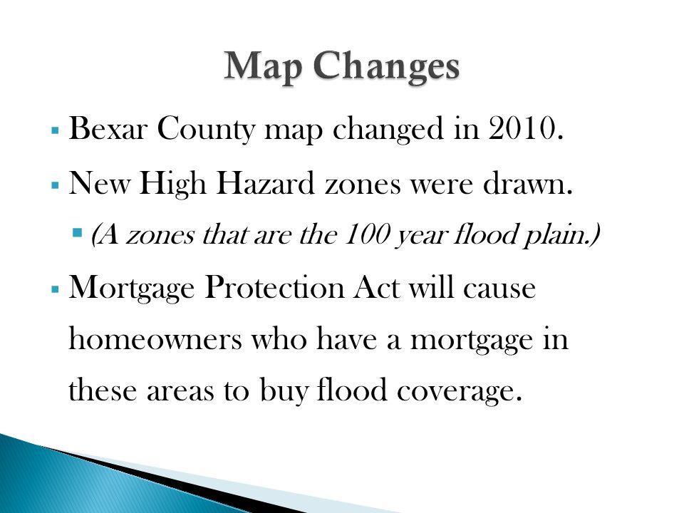  Bexar County map changed in 2010.  New High Hazard zones were drawn.