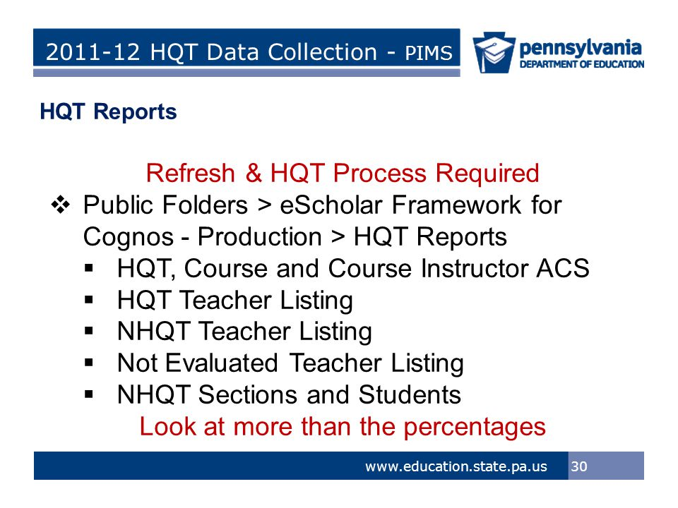 > Tom Corbett, Governor Ron Tomalis, Secretary of Education Title of Presentation > Tom Corbett, Governor Ron Tomalis, Secretary of Education 2011-12 HQT Data Collection - PIMS 30 www.education.state.pa.us HQT Reports Refresh & HQT Process Required  Public Folders > eScholar Framework for Cognos - Production > HQT Reports  HQT, Course and Course Instructor ACS  HQT Teacher Listing  NHQT Teacher Listing  Not Evaluated Teacher Listing  NHQT Sections and Students Look at more than the percentages