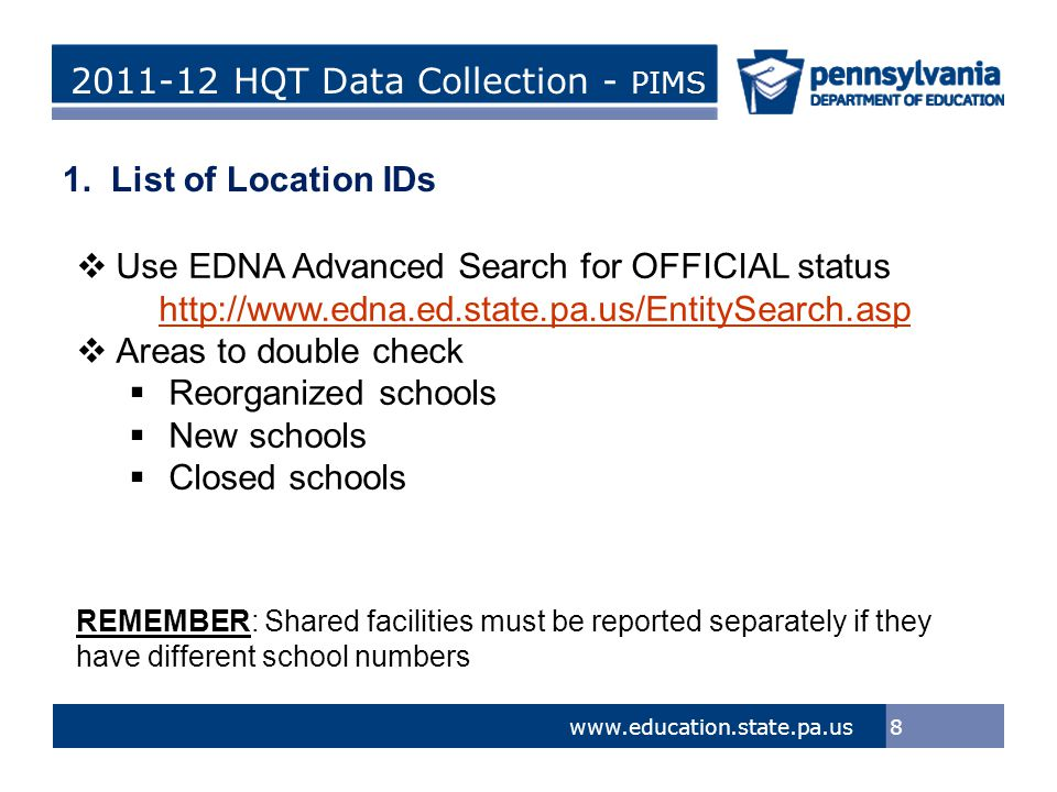 > Tom Corbett, Governor Ron Tomalis, Secretary of Education Title of Presentation > Tom Corbett, Governor Ron Tomalis, Secretary of Education 2011-12 HQT Data Collection - PIMS 29 www.education.state.pa.us Cognos Production Reports Refresh & HQT Process Required  Public Folders > eScholar Framework for Cognos - Production > HQT Reports  Subjects, Certifications and HQT Status  Teachers Teaching Core Content Courses at 0000 or 9999 Locations – Summary  Teachers Teaching Core Content Courses at 0000 or 9999 Locations - Detail