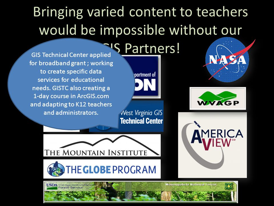 Bringing varied content to teachers would be impossible without our GIS Partners.