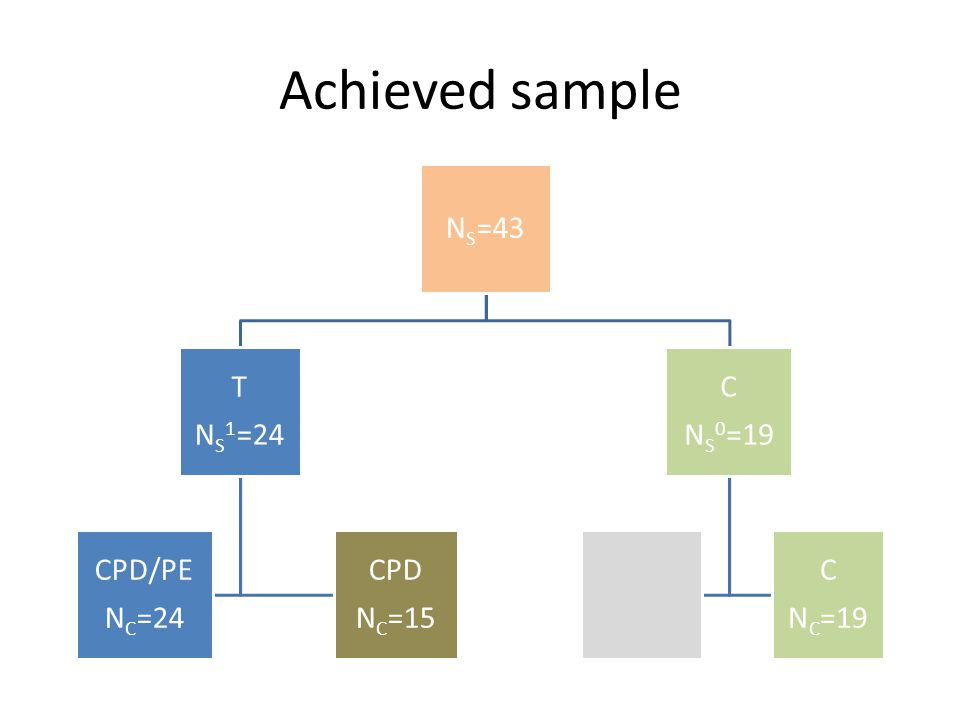 Achieved sample NS=43 T NS 1=24 CPD/PE NC=24 CPD NC=15 C NS 0=19 C NC=19