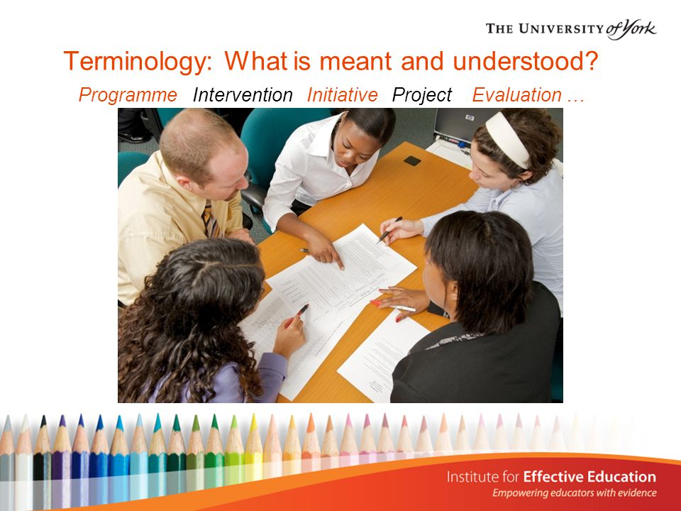 Terminology: What is meant and understood? Programme Intervention Initiative Project Evaluation …