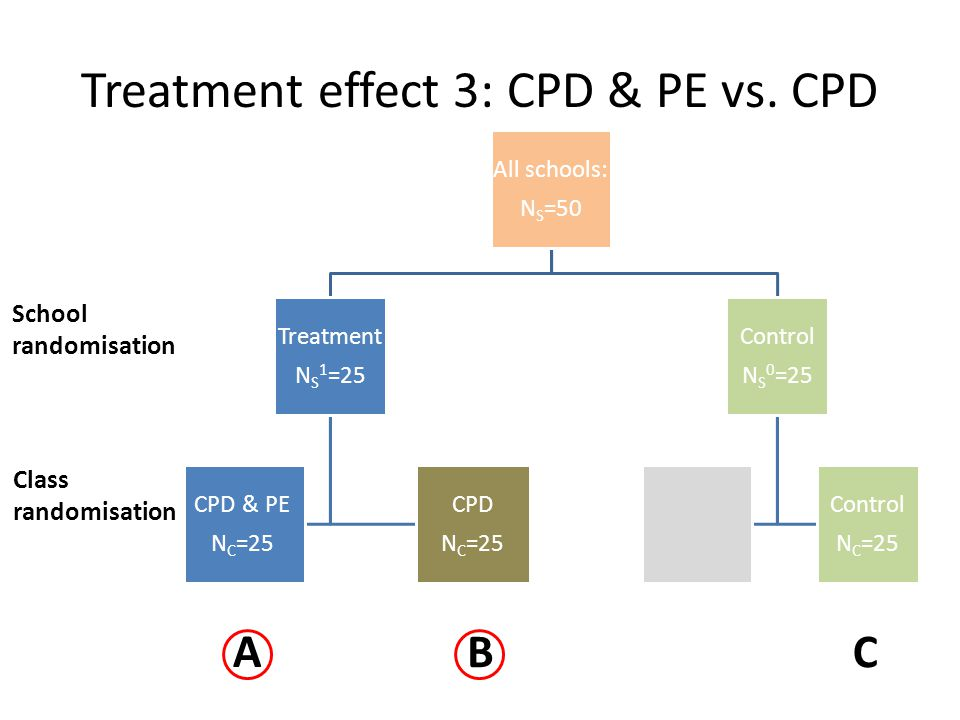 Treatment effect 3: CPD & PE vs. CPD All schools: NS=50 Treatmen t NS 1=25 CPD & PE NC=25 CPD NC=25 Control NS 0=25 Control NC=25 School randomisation