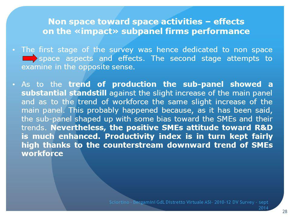 The first stage of the survey was hence dedicated to non space space aspects and effects.