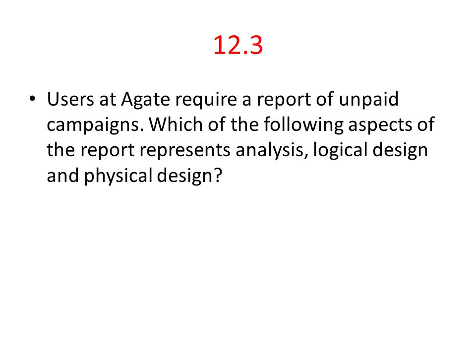 12.6 Answer Detailed Design It concerns with the individual elements, and conforms the standards.