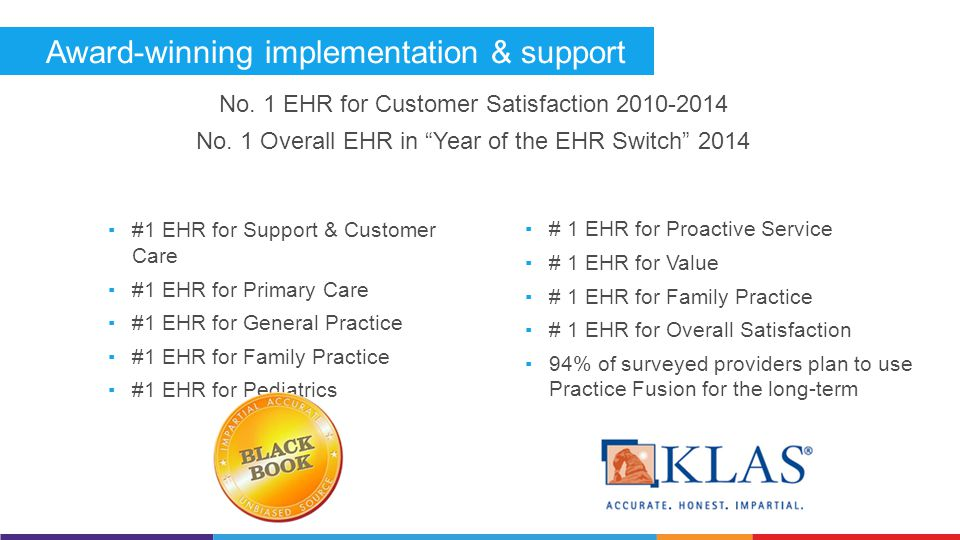 Award-winning implementation & support ▪# 1 EHR for Proactive Service ▪# 1 EHR for Value ▪# 1 EHR for Family Practice ▪# 1 EHR for Overall Satisfaction ▪94% of surveyed providers plan to use Practice Fusion for the long-term ▪#1 EHR for Support & Customer Care ▪#1 EHR for Primary Care ▪#1 EHR for General Practice ▪#1 EHR for Family Practice ▪#1 EHR for Pediatrics No.
