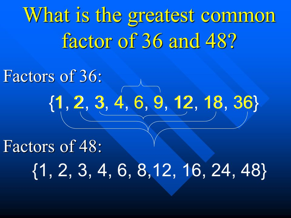What is the greatest common factor of 36 and 48? Factors of 36: Factors of 48: {1, 2, 3, 4, 6, 9, 12, 18, 36}361218312496 {1, 2, 3, 4, 6, 8,12, 16, 24