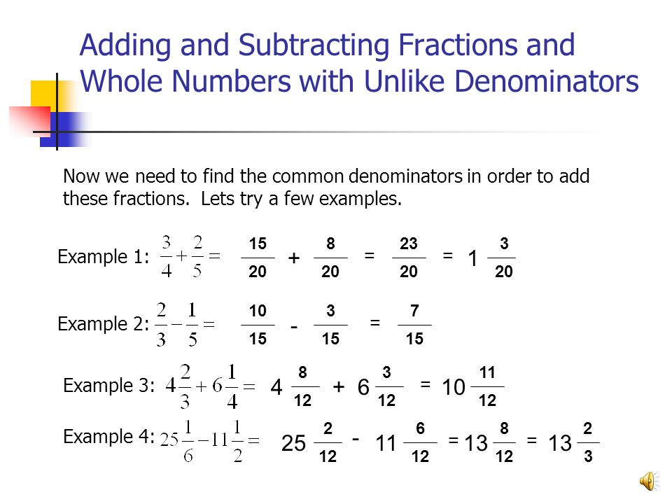 Adding and Subtracting Fractions and Whole Numbers with Unlike Denominators Example 4: Example 1: Example 2: Example 3: Now we need to find the common