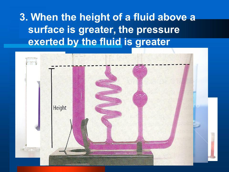 3. When the height of a fluid above a surface is greater, the pressure exerted by the fluid is greater