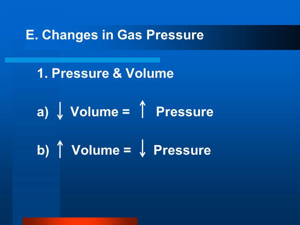 E. Changes in Gas Pressure 1. Pressure & Volume a) Volume = Pressure b) Volume = Pressure