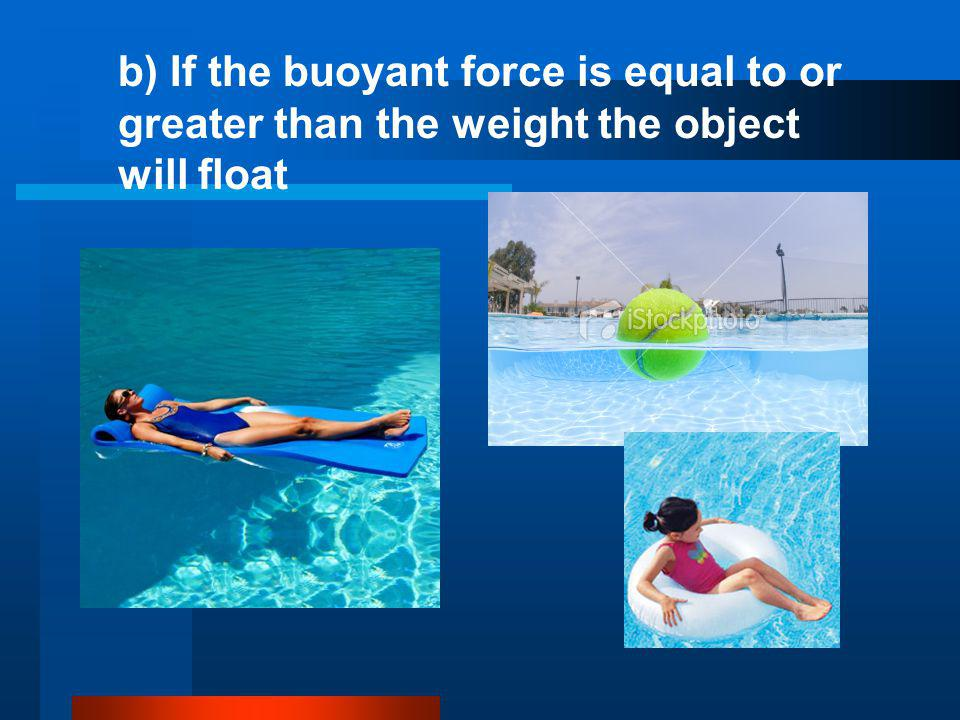 b) If the buoyant force is equal to or greater than the weight the object will float