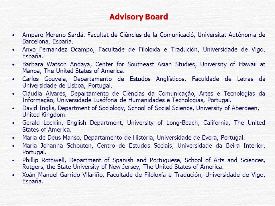 Advisory Board Amparo Moreno Sardá, Facultat de Ciències de la Comunicació, Universitat Autònoma de Barcelona, España.