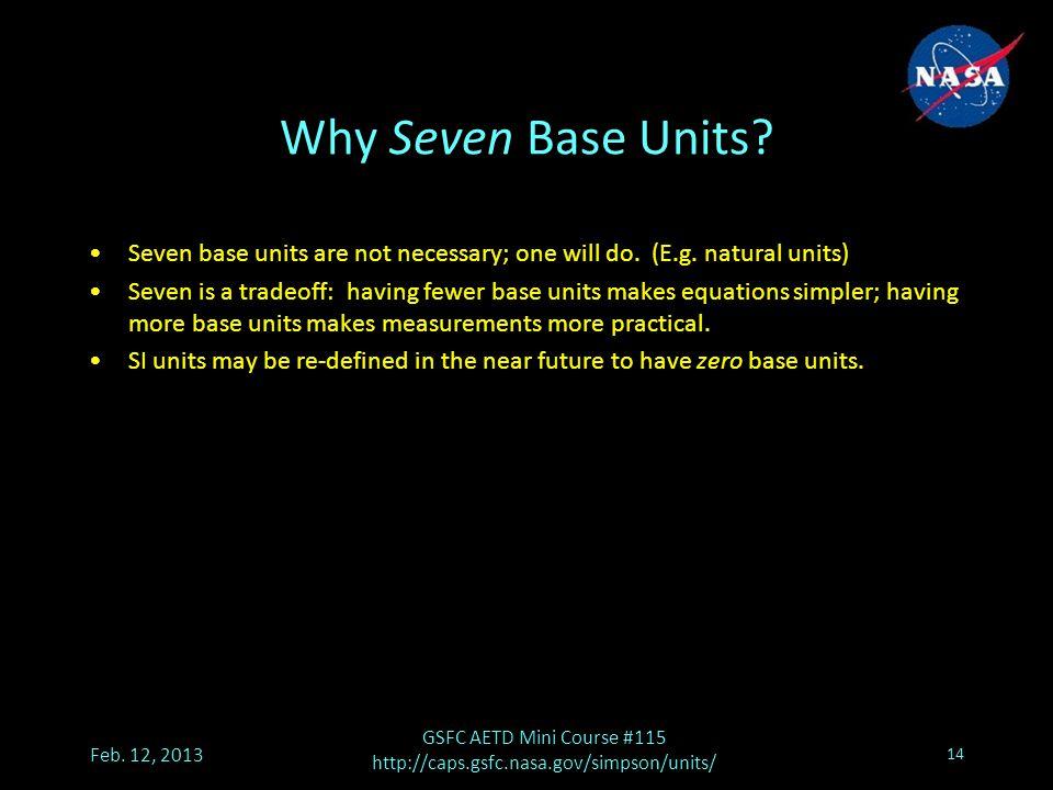 Why Seven Base Units. Feb.