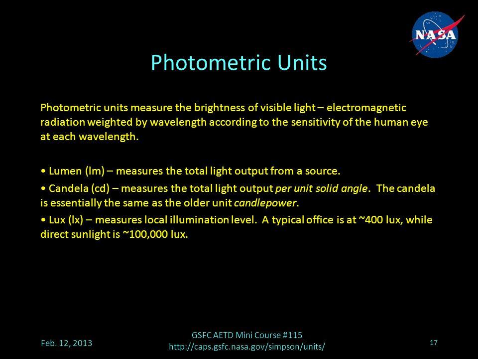 Photometric Units Feb.