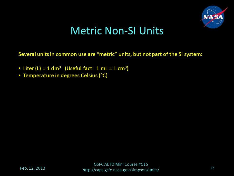 Metric Non-SI Units Feb.