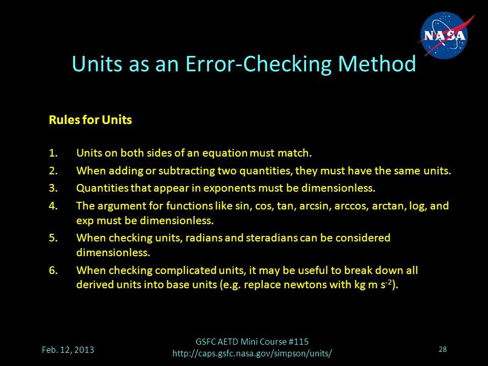 Units as an Error-Checking Method Feb.